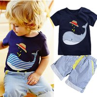 New Children' s Clothing Boys Summer Whale T- shirt + Str...