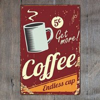 Get More Coffee Retro Metal Sign Vintage Craft Tin Sign Retr...