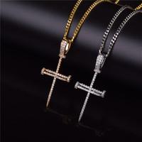 Gold Zirkon Nagel Kreuz Anhänger Gold Silber Kupfer Material Iced Out Kreuz CZ Anhänger Halskette Kette Mode Hip Hop Schmuck