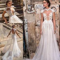 2018 Bohemian Ivory Wedding Dresses Cap Sleeves Lace Appliqu...