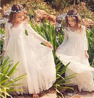 2018 New Beach Flower Girl Dress Lace White Ivory First Comm...
