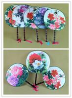 Große Blumen-runde Handventilator-Handgriff-traditionelle Fertigkeit-chinesische Silk Tanzen-Fans personifizierte Hochzeits-Bevorzugungs-Fan 100pcs / lot