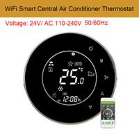 Instruments de température AC110-240V WIFI Smart Climatiseur central Smart Contrôleur de rétroéclairage LCD écran tactile 2 tuyaux Thermostat programmable