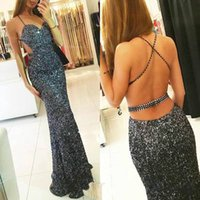 Sparkling Sequined Backless Prom Dresses Spaghetti Mermaid P...