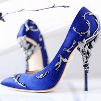 Горячая распродажа шелковая вечеринка свадебные туфли для невесты мода 9,5 см женские насосы роскоши дизайнерские каблуки лотонные пальцы ног свадебные туфли