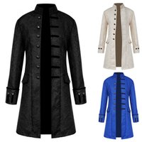 2018 erkek giyim, ortaçağ erkek ceket, ceket, rüzgarlık, uzun tarzı retro yaka.