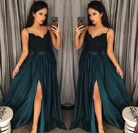 2018 Elegante Abendkleider A-Line Schwarz-Grün High Split Ausschnitt Seitenschlitz Spitze Top Sexy Arabisch Sweep Zug Formale Party Prom Kleider