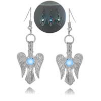 световой шарик крыло ангела серьги полые медальон крыло ангела шпильки мотаться люстра Хэллоуин повезло свечение в темноте серьги для женщин