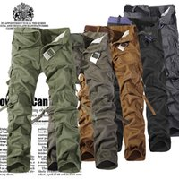 2017 Autumn Men Cargo Pants army green grey black big pocket...