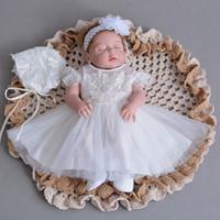 Promotion Dentelle Tulle robes première communion pas cher 2020 mancherons Blanc d'Ivoire Baby Girl Dresses Chine USA Grande-Bretagne Boutique en ligne