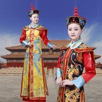 Cina Manchu Qing Dynasty Queen Empress Robe Dress Cosplay per la signora cinese tradizionale abbigliamento donna Act Dramaturgic Costume Drop Shipping