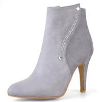 2018 جديد الأزياء والأحذية امرأة أشار تو فلوك الكاحل أحذية للنساء قصيرة أفخم الخريف الشتاء الأحذية عالية الكعب الأحذية