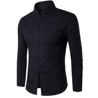 Tradition chinoise Style Hommes Chemise Nouveau Coton Mâle Couleur Unie Col Mandarin Affaires À Manches Longues Chemise Décontractée
