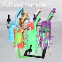 실리콘 배럴 리깅스 미니 실리콘 리깅 Dab Jar Bongs 실리콘 오일 드럼 리거 + 실리콘 왁스 매트 + dab 툴 + 더블 월 쿼츠 뱅크 + 카브 캡