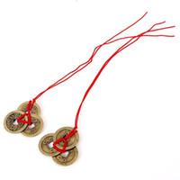2 pièces / jeu de pièces de monnaie en cuivre chinois pour la chance Amulette de feng shui traditionnelle