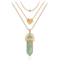 الحجر الطبيعي كريستال قلادة القلائد للنساء ثلاثة طبقة رصاصة رئيس سداسية قلادة سلاسل ذهبية الكوارتز الأزياء قلادة مجموعة هدية