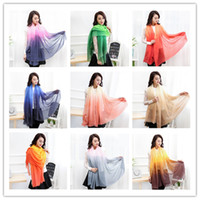 Fashion Women Gradient Silk Scarf Scarves Soft Elegant Long ...