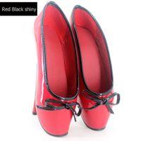"""Dostosowane 18 cm / 7 """"Ultra High Spike Heels Slip-on pompy baletowe z Bowtie Black White Patent Leather Buty Fetyszowe BDSM Plus Size for Sexy"""