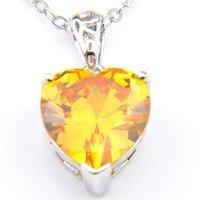 10 Adet Luckyshine Noel Hediye Kalp şeklinde Sarı Kristal Kübik Zirkonya Taş 925 Gümüş Kolye Kolye Lady Parti Kolye