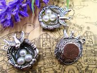 15pcs - Charms Nest Nest, ton argent avec 3 perles comme des perles tout simplement magnifiques, pendentifs nid d'oiseau 24x23mm