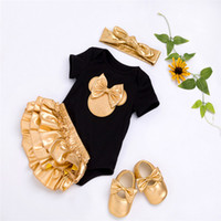 2018 Baby Girl Clothes 4pcs Clothing Sets Black Cotton Rompe...
