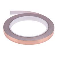 20m 10mm koperfolie gebrandschilderd glasfolie tape voor EMI-afscherming slak afstotende elektrische reparatie waterdichte enkele geleidende