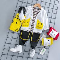 d98216afc Autumn Infant Clothing Sets Baby Boy Girl Clothes Suits Smiley face Coat  Stripe T Shirt Pants Kid Child Clothes Sets