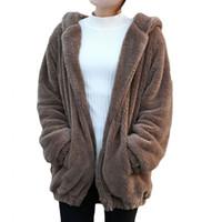Mulheres Hoodies Quentes Zipper Menina Inverno Solto Fofo Lovley Urso Ear Hoodie Com Capuz Jaqueta Casaco Quente Outerwear Casaco Bonito Moletom Com Capuz Quente