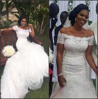 Organza volante de la sirena de encaje del hombro Sudáfrica Vestido de novia de Nigeria para mujer negra