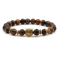 Neue Tigereye Agate Armbänder Legierung Leopard-Kopf Owl Palm Lion Helm Armbänder Naturstein-Armbänder für Frauen-Mann-Geschenk