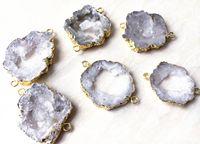 Natural Rock Crystal Cuarzo Conector Geode Druzy Beads, Raice Agate Druzy Gemstone Conectores Beads para la fabricación de joyas
