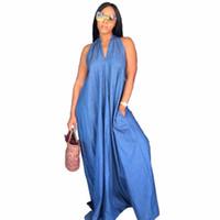 4293a3b10a6 Good quality sexy dress v neck denim dresses woman summer sleeveless jeans  long maxi dress