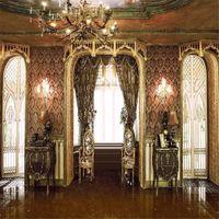 Retro Vintage Düğün Fotoğrafçılığı Arka Planında Vinil Kapılar Parlak Pencere Perde Şam Duvar Avize Iç Saray Fotoğraf Stüdyosu Arka Plan