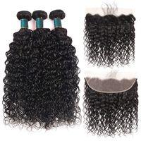도매 최고 품질의 13x4 레이스 정면 3 번들과 물 파도 학년 10A 브라질 말레이시아 페루 인도 몽골 인간의 머리카락 weaves