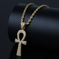 Hip Hop Silver / Gold Color Jesus Egyptian Ankh Key Colgante Colgante Collares Cubic Zirconia Long Chains para Hombres y Mujeres