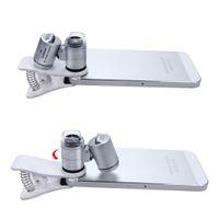 60X LED Zoom Clip-On Tipo Lupa Microscópio Jóias Magnifier Jóias Lupa Lupa Micro Lens para telefones Universal Mobile Pocket Tamanho