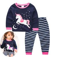 INX Xmas Unicorn Christmas Pijamas PJS Girls Pijama de Unicornio Pijamas Niños Kigurumi Kitty Dinosaurio Baby Girl Enfant 2pc Set Tops Pant