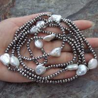 ハンド結び目120cmホワイト11-13mmコインケシ淡水真珠パープルグレーブラックガラスセーターネックレス