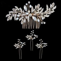 Newest Wedding Peals Hair Comb + 3pcs Hairpins for Bride Wed...