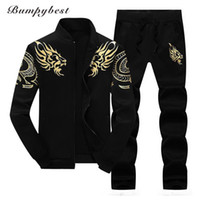 Bumpybeast Zipper Jacket + Pant Polo Set 2018 Casual Men Sporting Suit Felpa con cappuccio da uomo Suit Track Felpa Maschio Due pezzi Set
