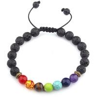 2019 Europen Américain Femmes et Hommes Pierre De Lave Perle 7 Bracelet Chakra Yoga Energie Bracelet Guérison Équilibre Tissage Bracelet