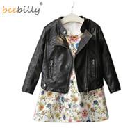 BEEBILLY 2017 Moda Primavera Bebé Niñas Chicos Chaqueta de cuero Ropa para niños coreanos Bebé Cremallera con cremallera negra Abrigo Niños Outwear