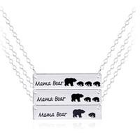 Mama Bear Cub Colliers Pendentifs Gold Argent Plated Alliage Liaison Chaînes Chains Collier Collier Bijoux Jour de la mère Gif