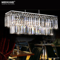 Modern Chandelier Crystal Light Fitting Rectangle Hanging La...