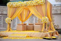 3м * 3м * 3м Элегантный куб Wedding Backdrop / Mandap / Палатка занавес 1 лот с свободной перевозкой груза для украшения венчания партии украшения