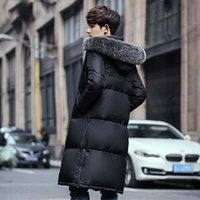Winter Windbreaker Solid Hooded White Duck Down Jacket Men C...