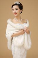 En Satış Beyaz Uzun Tilki Faux Kürk Sıcak Gelin Sarar Kış Ucuz Şal Pelerin Eşarp Kadın Parti Düğün Giymek Gelin Aksesuarları