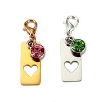 Modeschmuck Accessoires fein Benutzerdefinierte einfaches Vertikale Rechteck hohles Herz Geburtsstein Keychain Edelstahl Schlüsselanhänger Ring für Paare