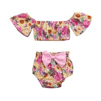 2Pcs Baby clothes girls Floral Print Tops+ Bowknot shorts Sum...