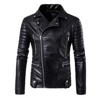 HD-DST 2017 Veste en cuir Locomotive pour hommes Hot vente Mode Casual Multi-zipper design Veste en cuir